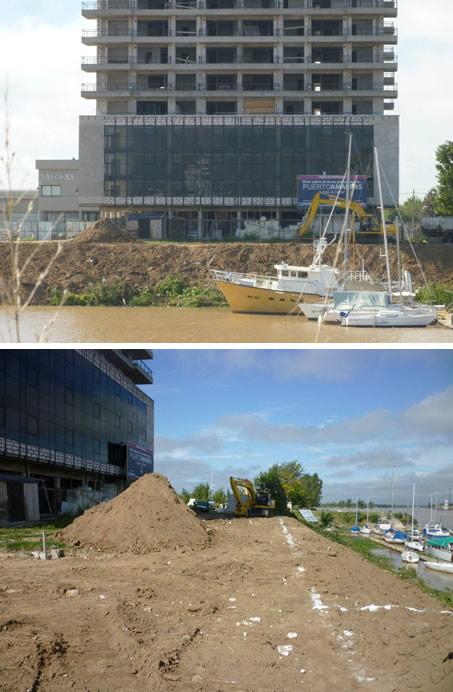 Comenzamos los  trabajos para la reconstitución de la barranca ubicada delante de la primera torre de Puerto Amarras