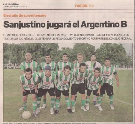 El club Sanjustino jugara el Torneo Argentino B