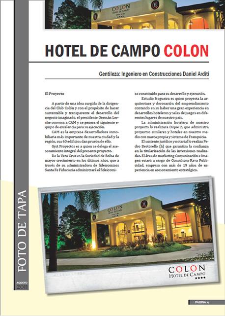 Nota de tapa publicada el mes de Agosto por la revista del Colegio de Profesionales de la Ingeniería Civil (CPIC) sobre el Hotel de Campo Colón