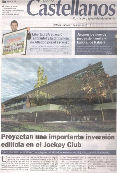 [DIARIO CASTELLANOS] - Importante proyecto edilicio fue presentado a socios del Jockey Club
