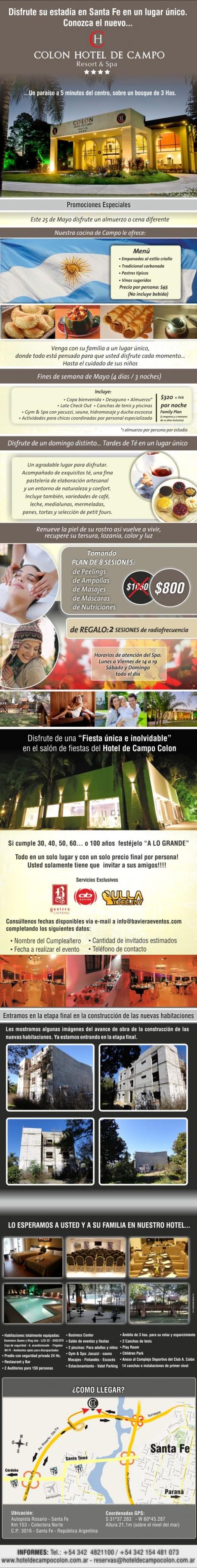 Disfrute mayo en el Hotel de Campo Colon