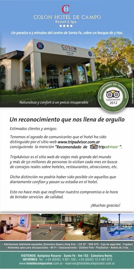 Reconocimiento de Tripadvisor para el Hotel de Campo Colon