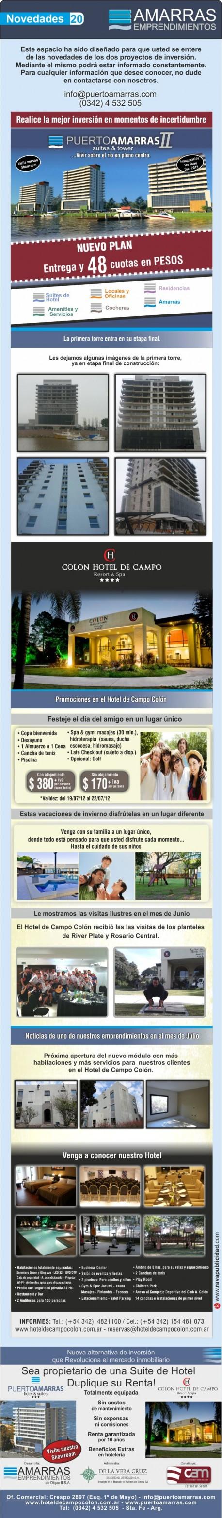 Novedades Amarras emprendimientos Julio 2012