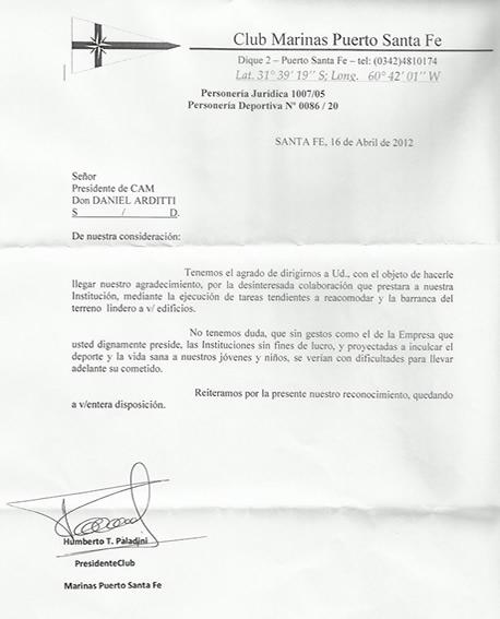 Nota de agradecimiento del Club Marinas Puerto Santa Fe