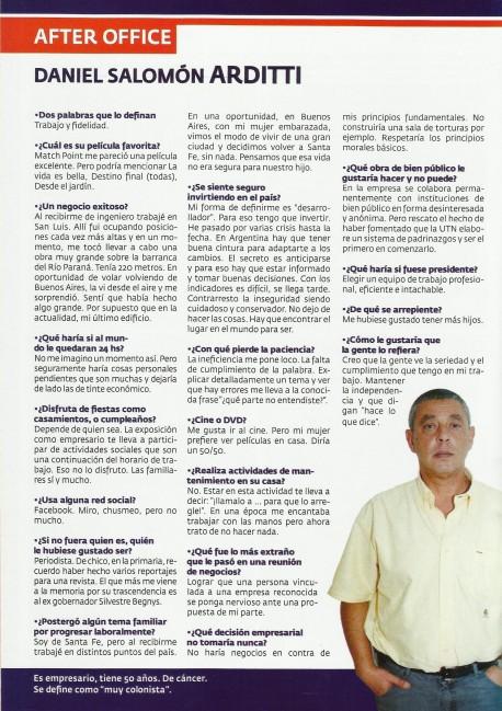 Nota al Ing Daniel Arditti en la revista Puerto Negocios